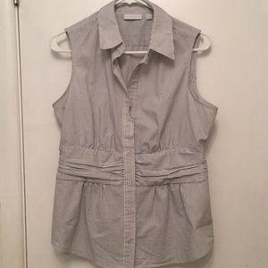 Striped Sleeveless Dress Shirt